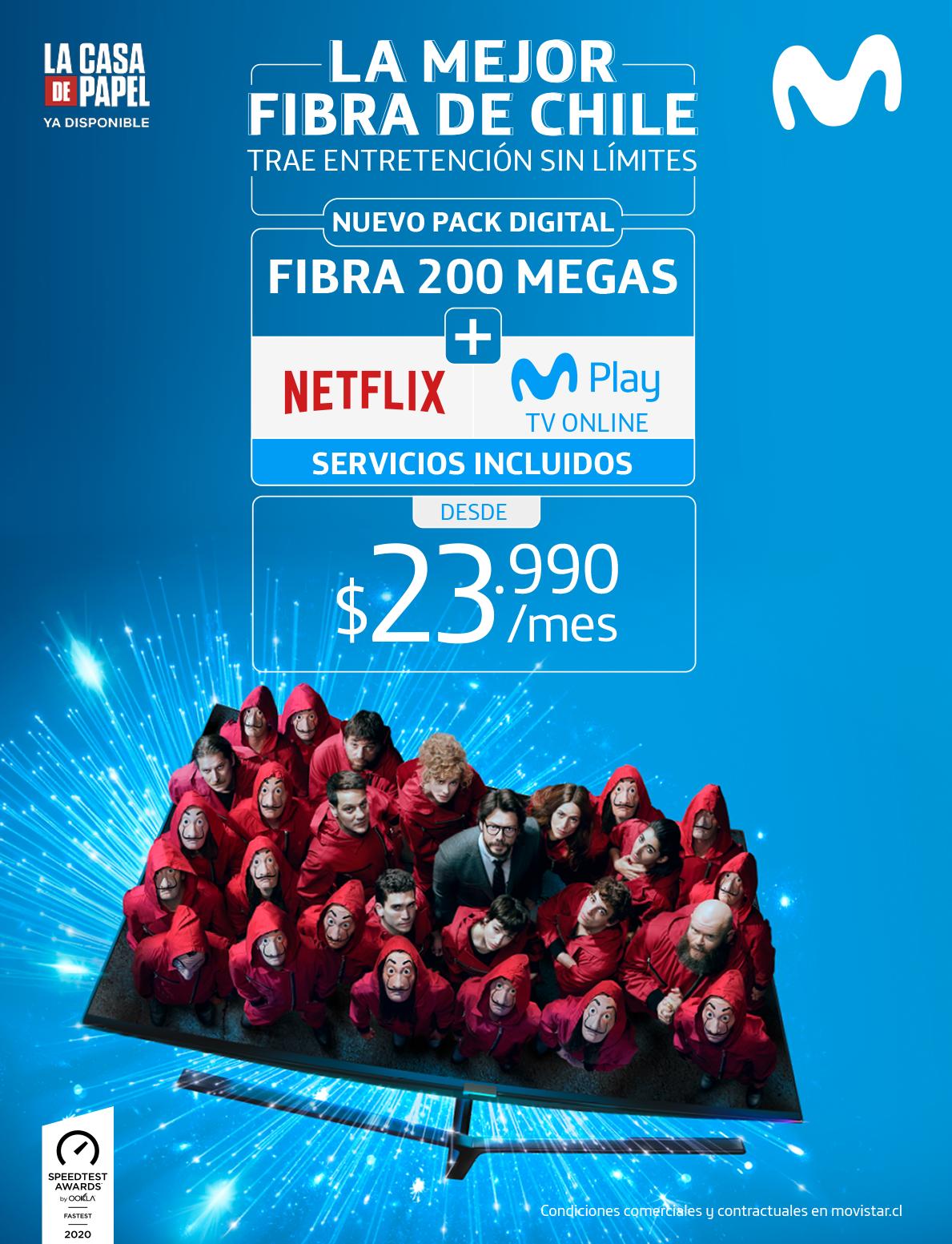 Por primera vez en Chile: Usuarios podrán acceder a un nuevo pack de fibra óptica con suscripción a Netflix incluida