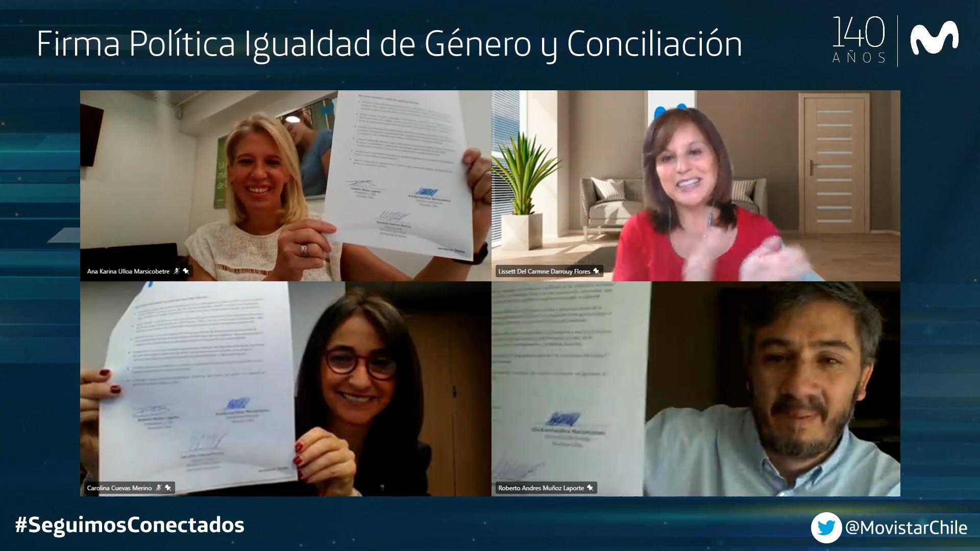 Junto al Ministerio de la Mujer y la Equidad de Género: <br><B>Movistar Chile firma su Política de Igualdad de Género y Conciliación de la vida personal, laboral y familiar</B>