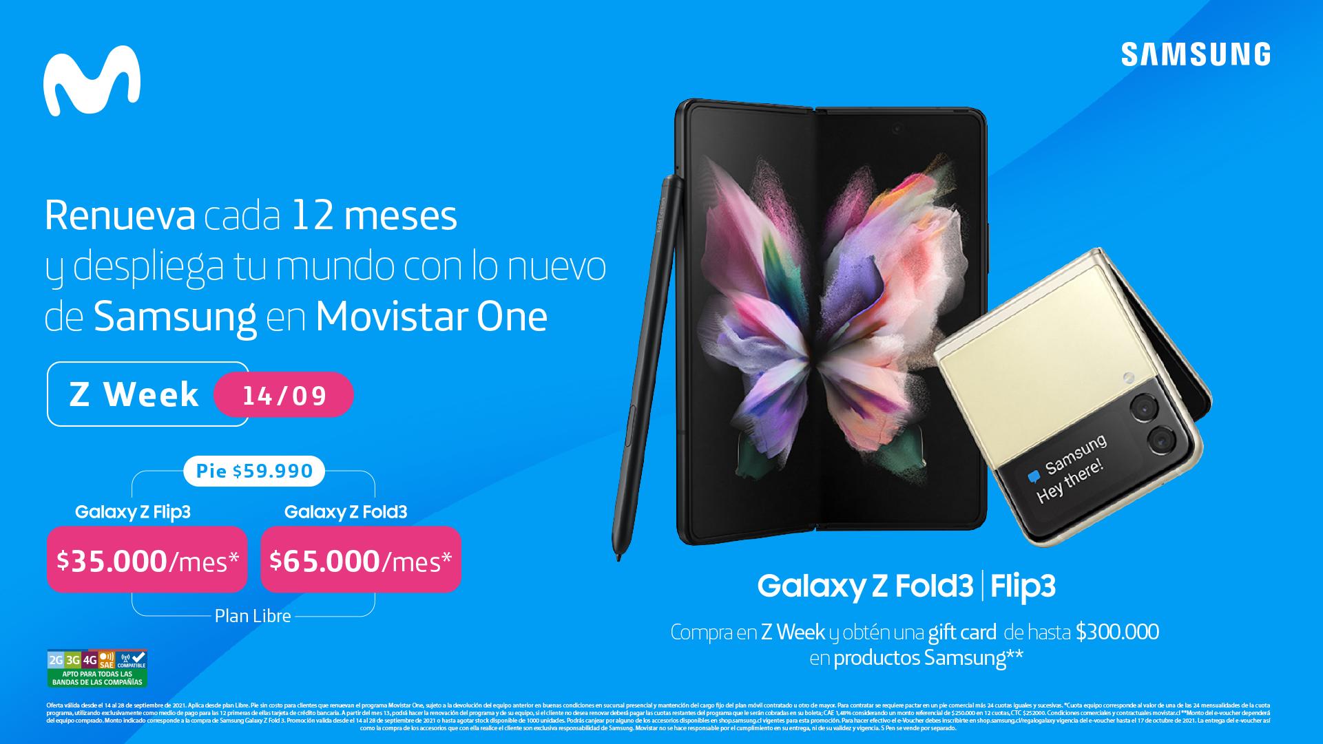 Movistar Chile ya tiene disponible lo último en plegables de Samsung: el Galaxy Z Fold3 5G y Galaxy Z Flip3 5G